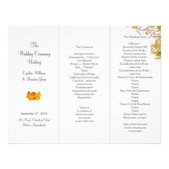 Tri Fold Wedding Program Template Our Tree Tri Fold Wedding Program Template