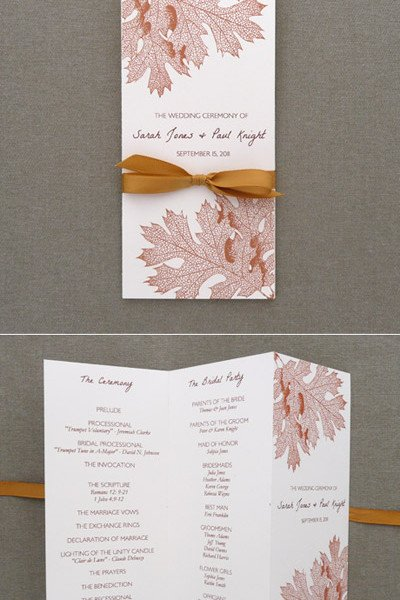 Tri Fold Wedding Program Template Program Template – Tri Fold Fall Leaves – Download & Print