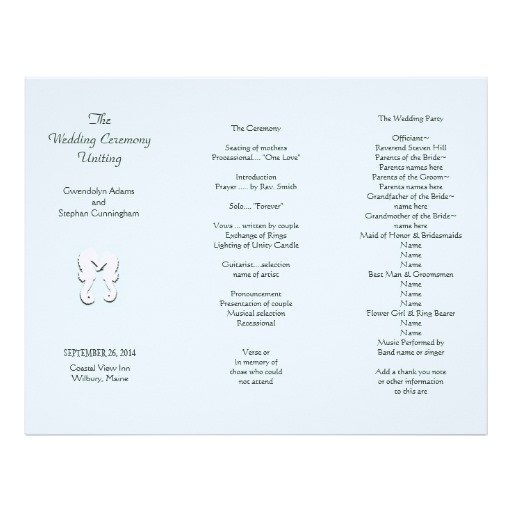 Tri Fold Wedding Program Template Sea Horse Tri Fold Wedding Program Template Letterhead
