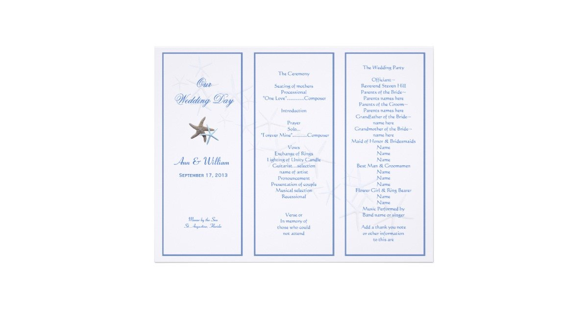 Tri Fold Wedding Program Template Starfish Couple Tri Fold Wedding Program Template