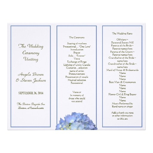 Tri Fold Wedding Program Template Tri Fold Blue Hydrangea Wedding Program Letterhead