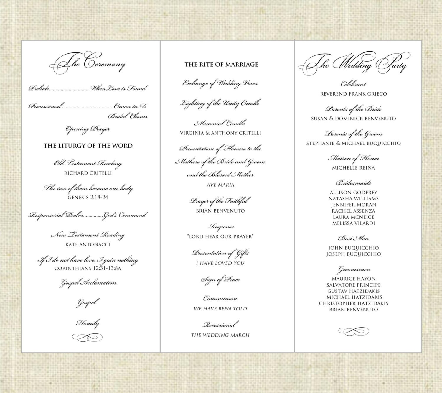 Tri Fold Wedding Program Template Tri Fold Printable Wedding Program