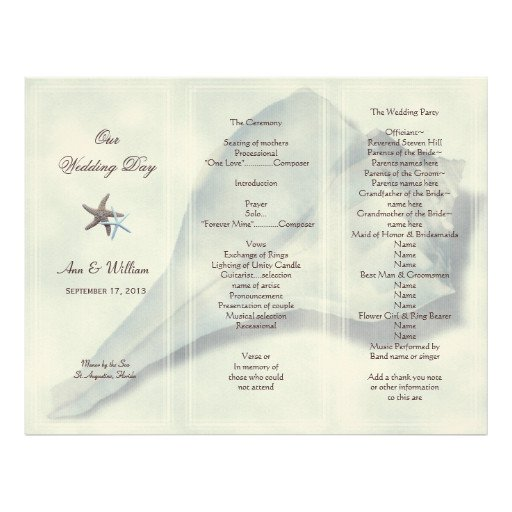 Tri Fold Wedding Program Template Whelk Shell Tri Fold Wedding Program Template Letterhead