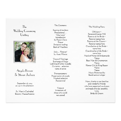 Tri Fold Wedding Program Template White Tri Fold Template Wedding Program Letterhead