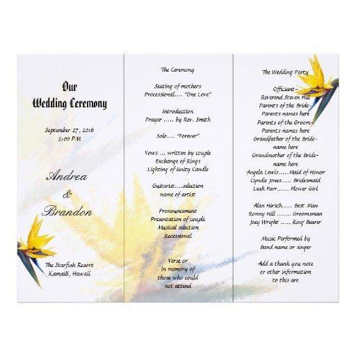 Tri Fold Wedding Programs Templates Bird Of Paradise Tri Fold Wedding Program Template