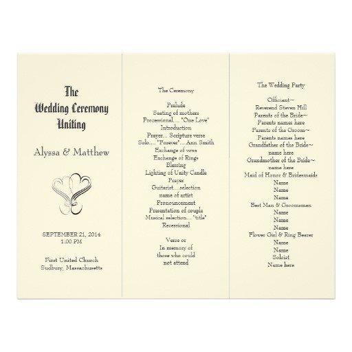 Tri Fold Wedding Programs Templates Blush Tri Fold Two Hearts Wedding Program Template