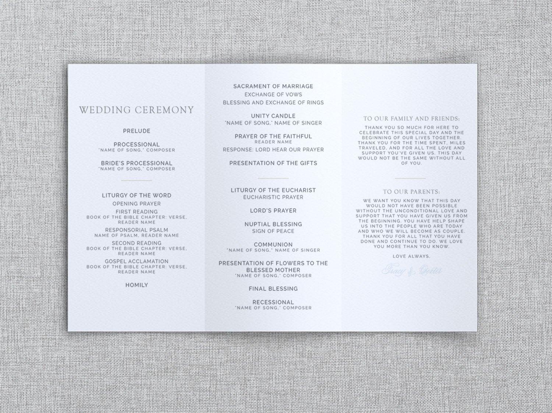Tri Fold Wedding Programs Templates Just My Type Wedding Tri Fold Wedding Program Template