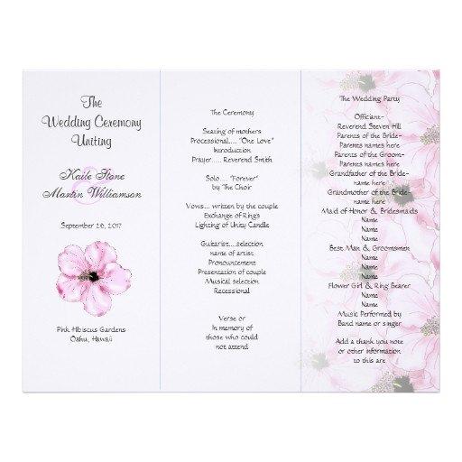 Tri Fold Wedding Programs Templates Pink Hibiscus Tri Fold Wedding Program Templates