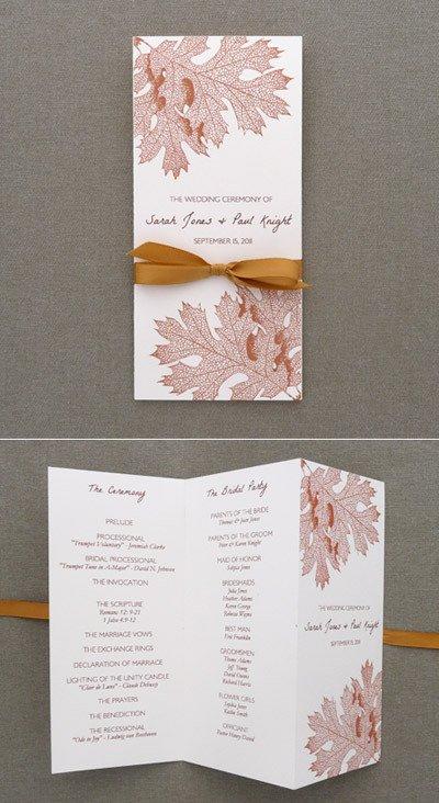 Tri Fold Wedding Programs Templates Program Template – Tri Fold Fall Leaves – Download & Print