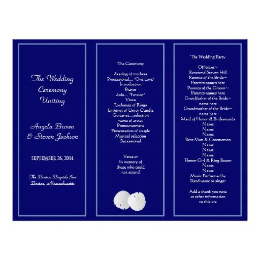 Tri Fold Wedding Programs Templates Sand Dollar Navy Tri Fold Wedding Program Template