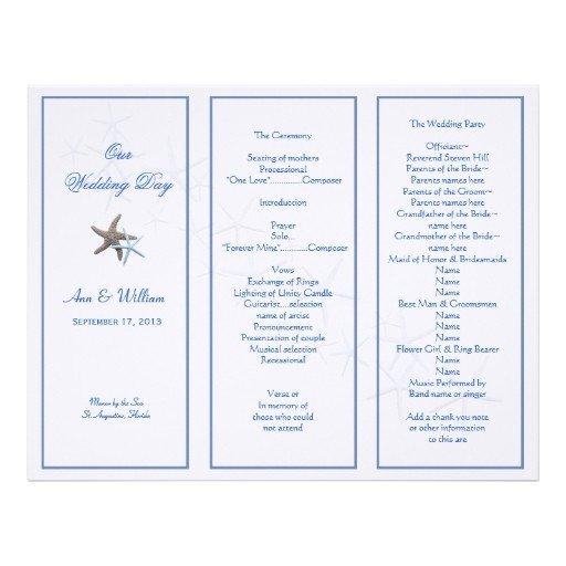 Tri Fold Wedding Programs Templates Starfish Couple Tri Fold Wedding Program Template