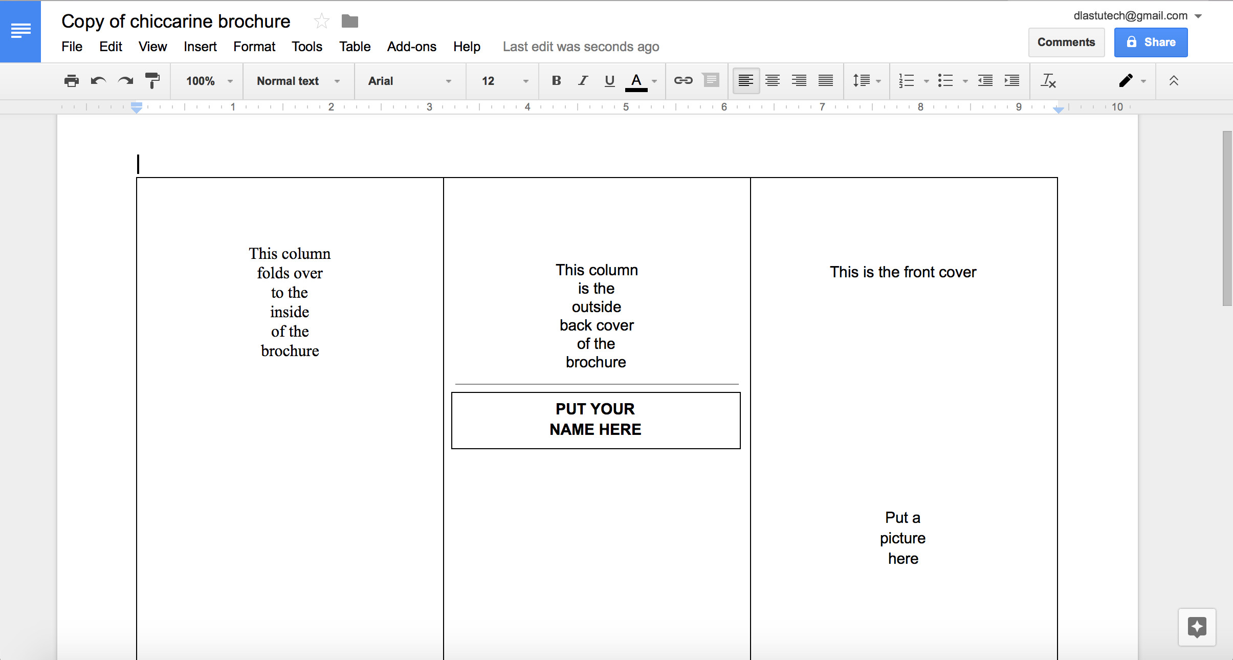 Trifold Template Google Docs Google Docs Brochure Template