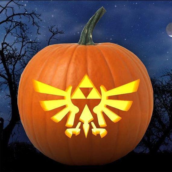 Triforce Pumpkin Stencil Legend Of Zelda Triforce Emblem Pumpkin Carving Pattern