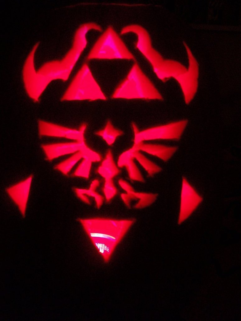 Triforce Pumpkin Stencil Loz Triforce Pumpkin Carving by Darkwolf Of the Wind On