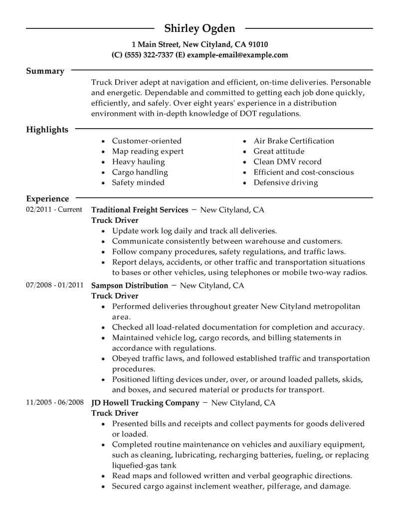 Truck Driver Resume Template Best Truck Driver Resume Example