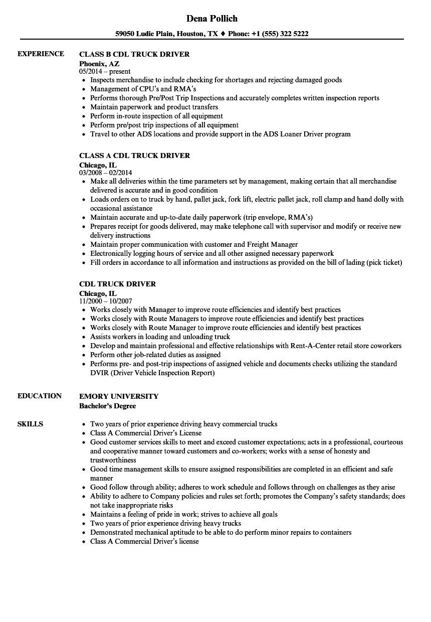 Truck Driver Resume Template Cdl Truck Driver Resume Samples