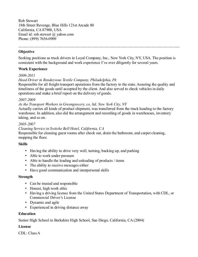 Truck Driver Resume Template Cdl Truck Driver Resume Template