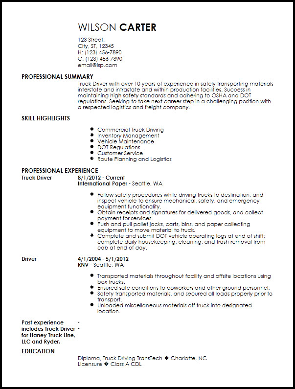 Truck Driver Resume Template Free Contemporary Truck Driver Resume Templates
