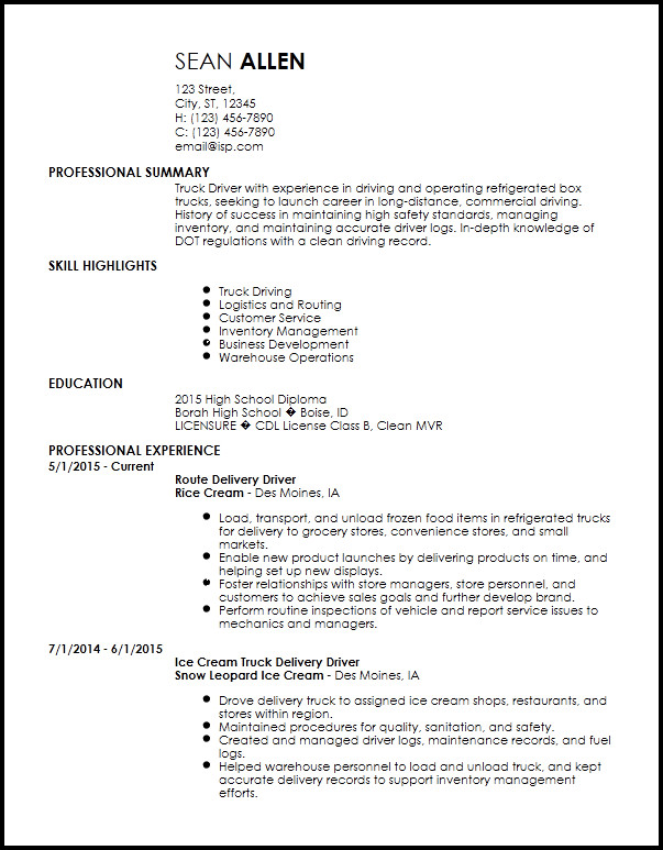 Truck Driver Resume Template Free Creative Truck Driver Resume Templates