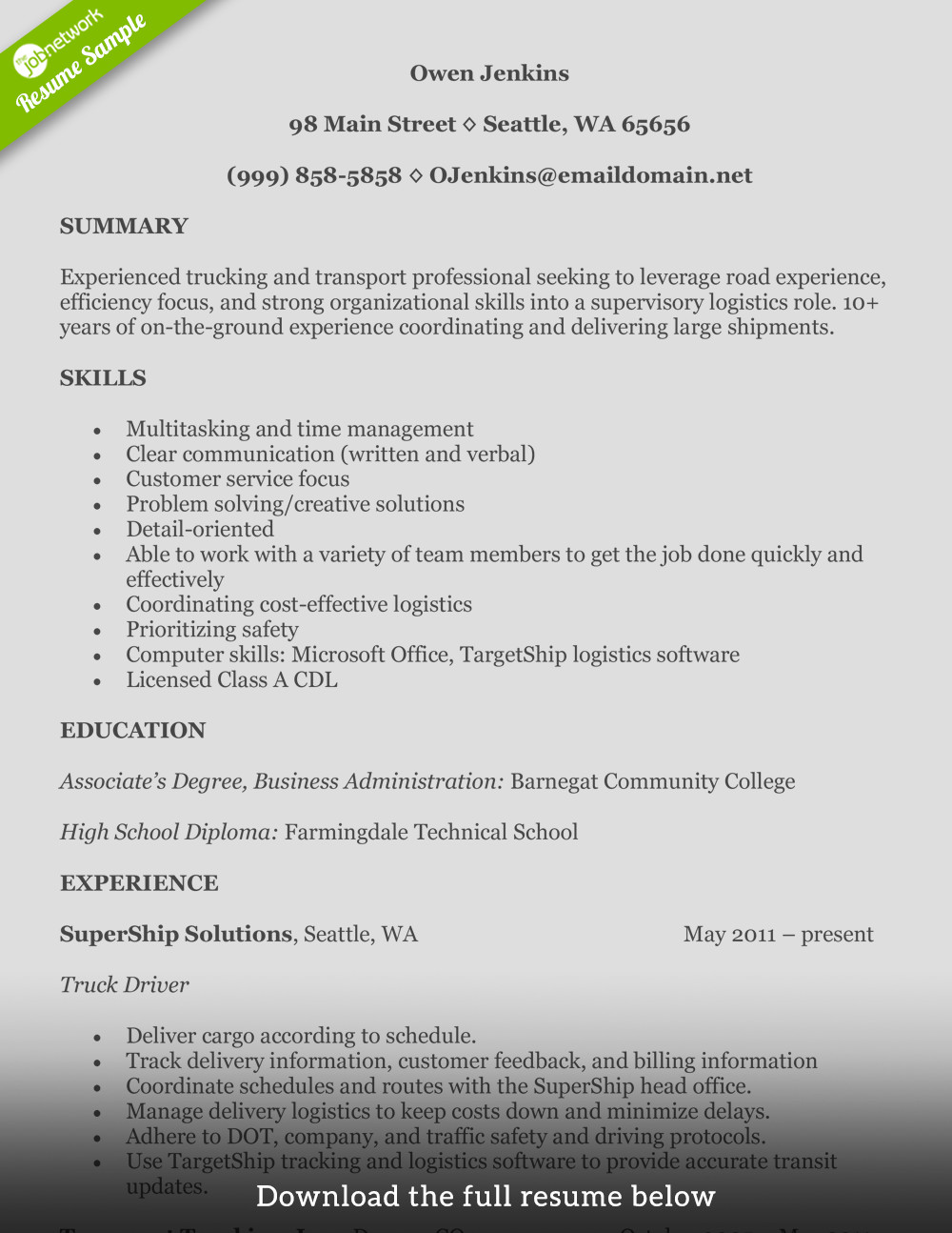 Truck Driver Resume Template How to Write A Perfect Truck Driver Resume with Examples
