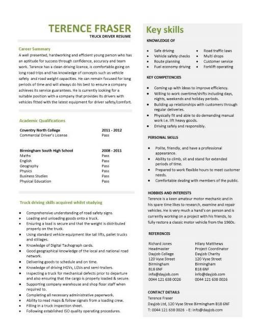 Truck Driver Resume Template Student Entry Level Truck Driver Resume Template