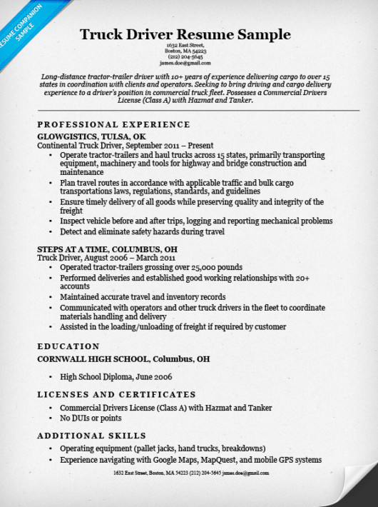 Truck Driver Resume Template Truck Driver Resume Sample