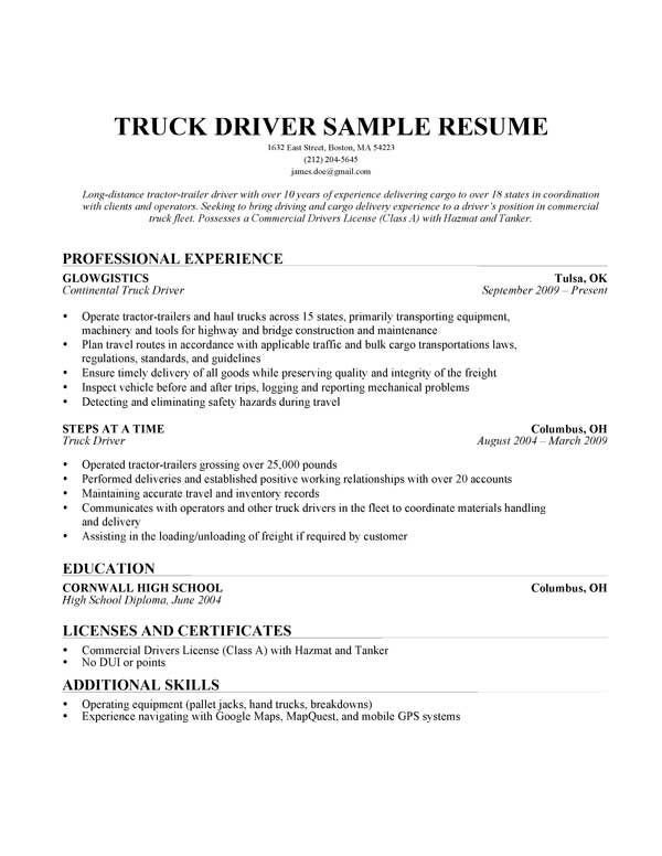 Truck Driver Resume Template Truck Driver Resume Sample Trucking