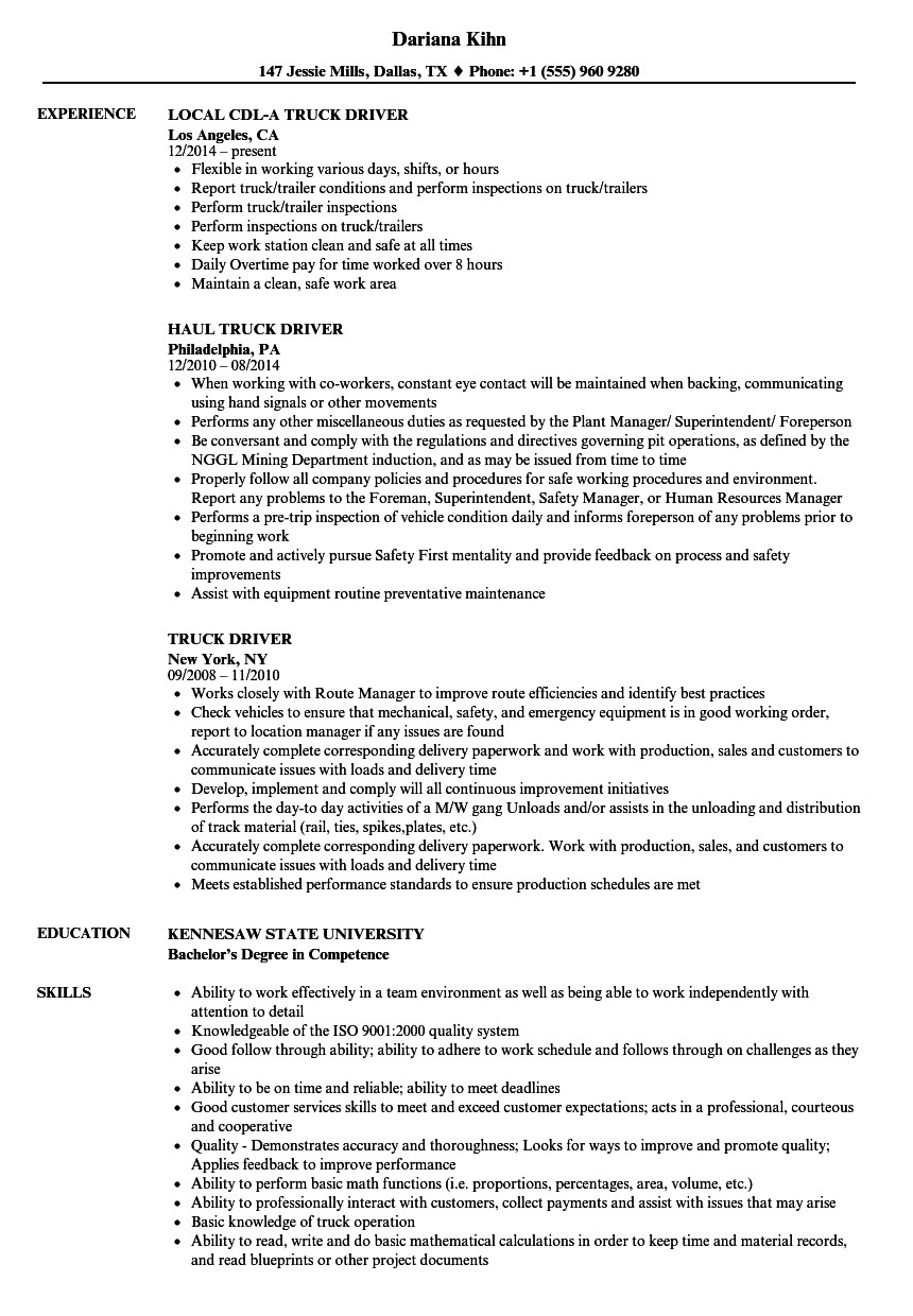 Truck Driver Resume Template Truck Driver Resume Samples