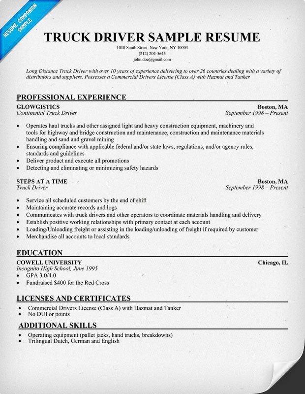 Truck Driver Resume Template Truck Driver Sample Resume Resume Panion
