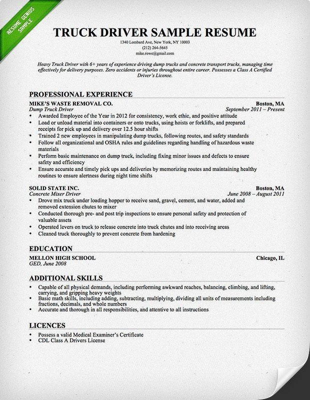 Truck Driver Resume Template Truck Driver Trucking Resume Template for Free Download