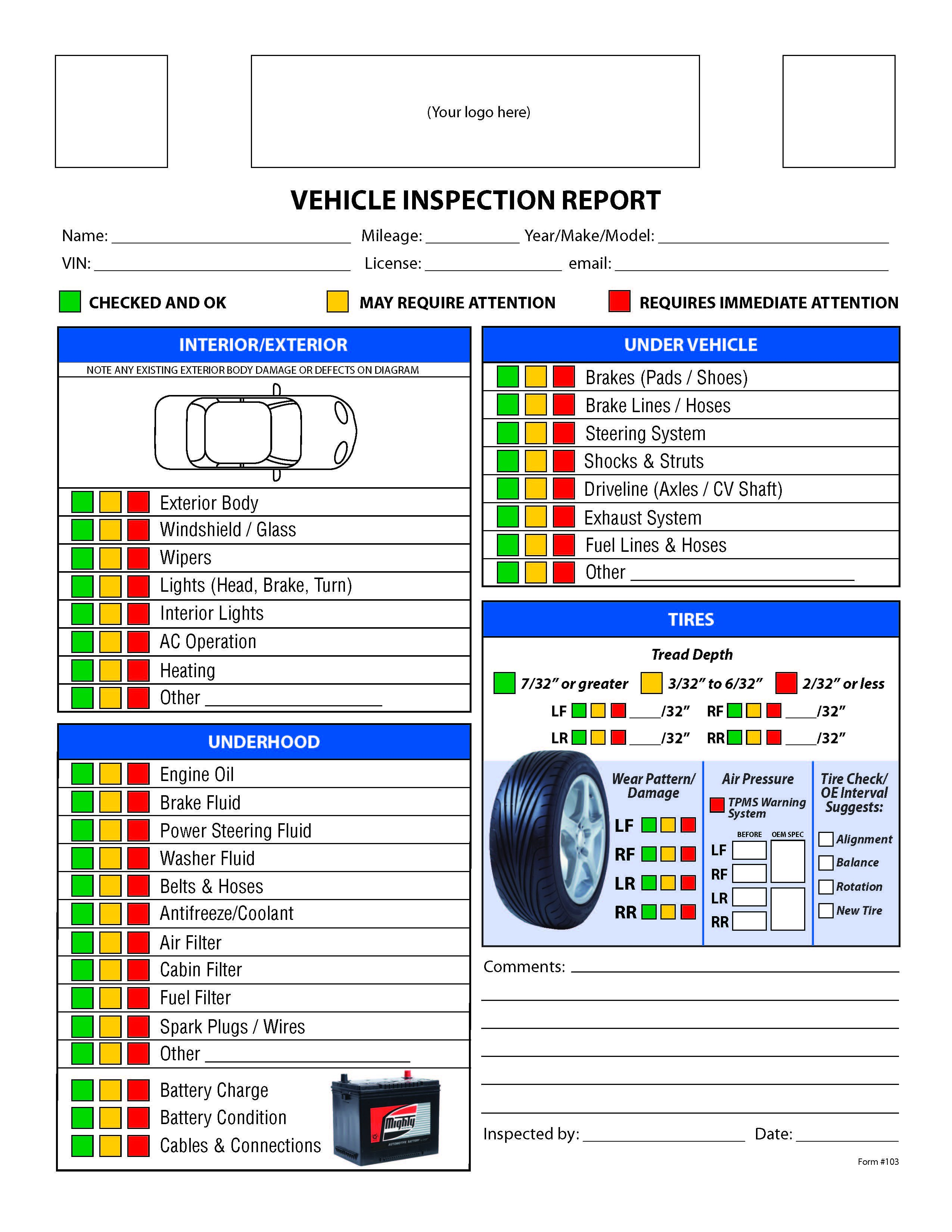 Truck Inspection form Template Free Vehicle Inspection Checklist form