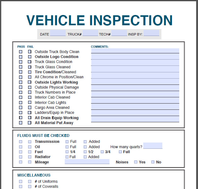 Truck Inspection form Template Profit Rhino™
