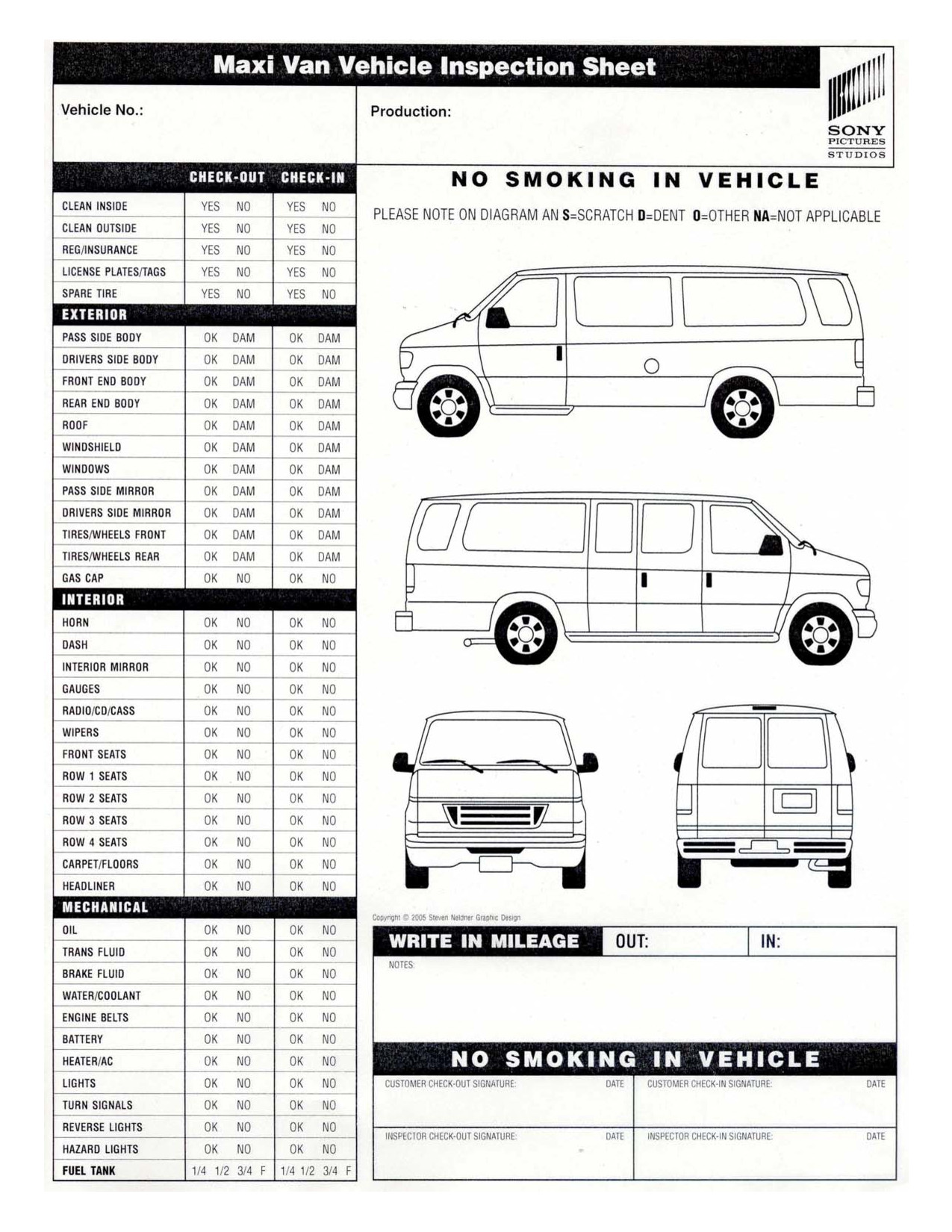 Truck Inspection form Template Vehicle Inspection Sheet Template