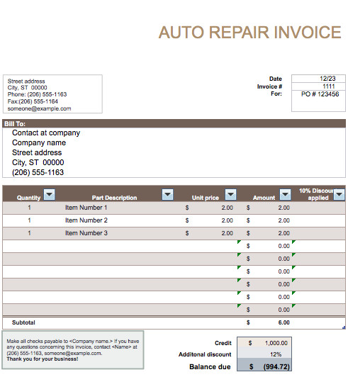Truck Repair Invoice Template Auto Repair Invoice Template Word