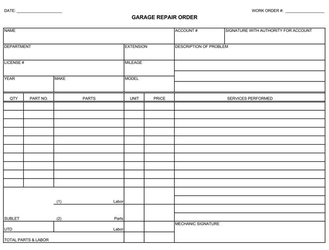 Truck Repair Invoice Template Auto Repair Invoice Templates 10 Printable and Fillable