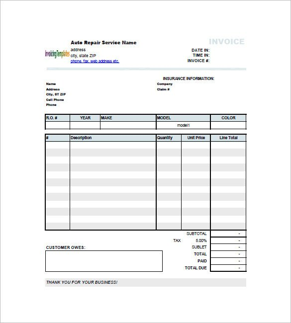 Truck Repair Invoice Template Car Invoice Template 23 Free Word Excel Pdf format