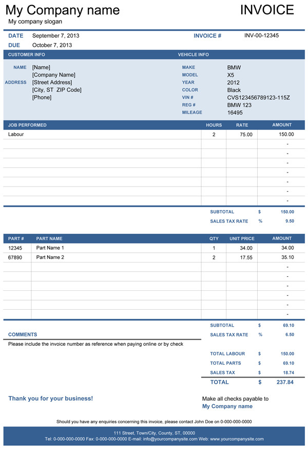 Truck Repair Invoice Template Vehicle Repair Invoice