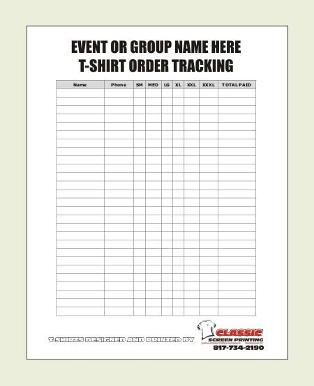 Tshirt order form Template Blank T Shirt order form Template