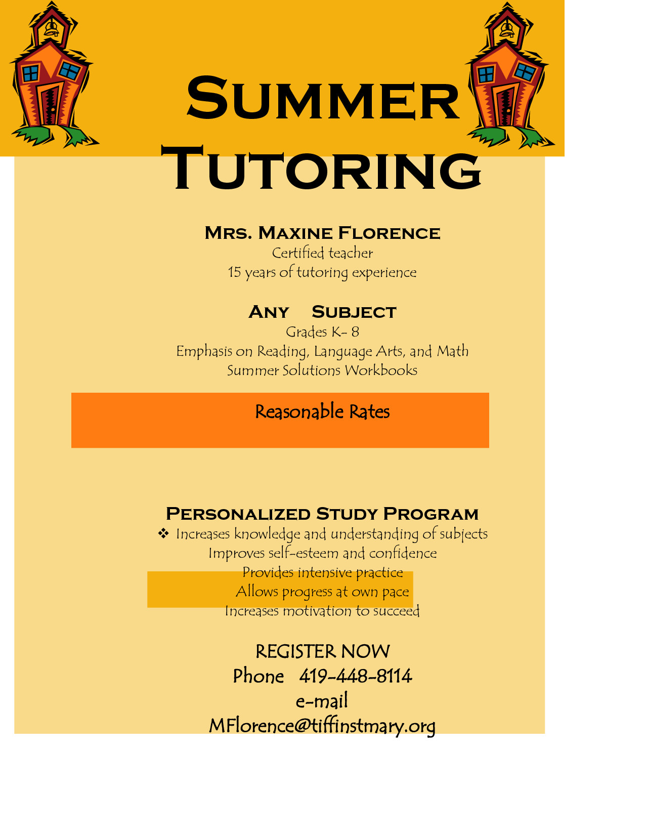 Tutoring Flyer Templates Free Flyer for Tutoring Services