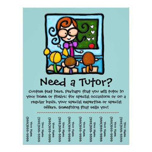 Tutoring Flyers Template Free Tutor Promotional Tear Sheet Flyer