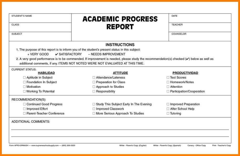 Tutoring Progress Report Template 9 Educational Progress Report Template