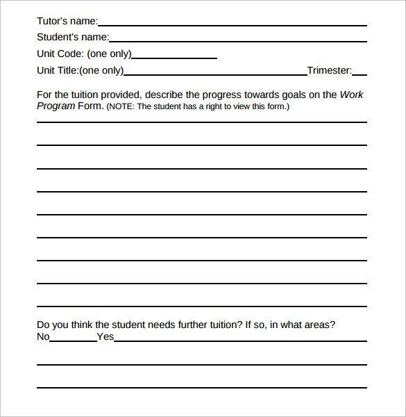 Tutoring Progress Report Template Sample Student Progress Report 17 Documents In Pdf