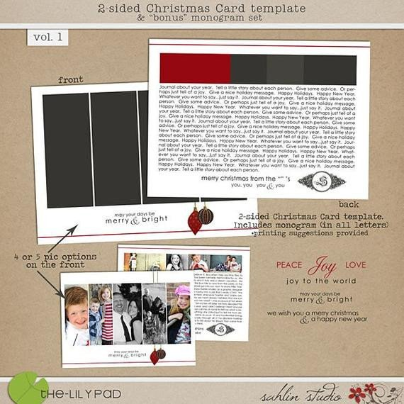 Two Sided Postcard Template 2 Sided Christmas Card Template & Bonus Monogram Vol1 for