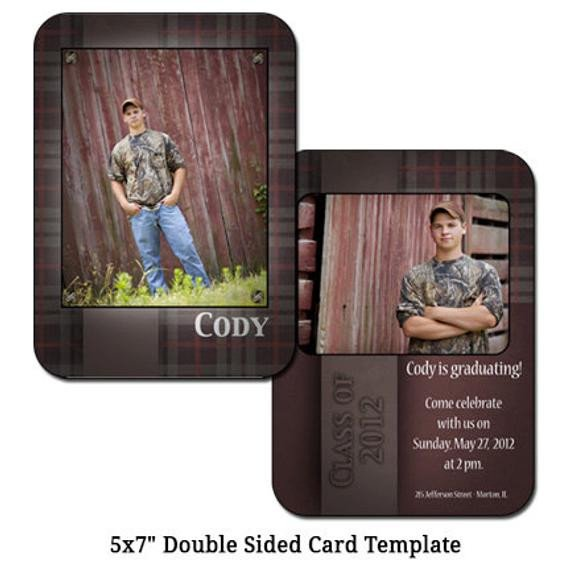 Two Sided Postcard Template 5x7 Double Sided Card Template Barnwood Digital File
