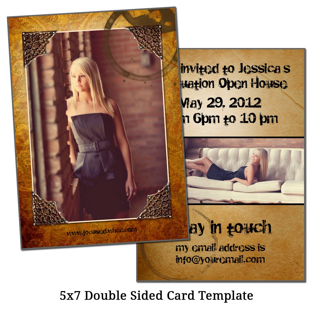 Two Sided Postcard Template 5x7 Double Sided Card Template Framed Future by