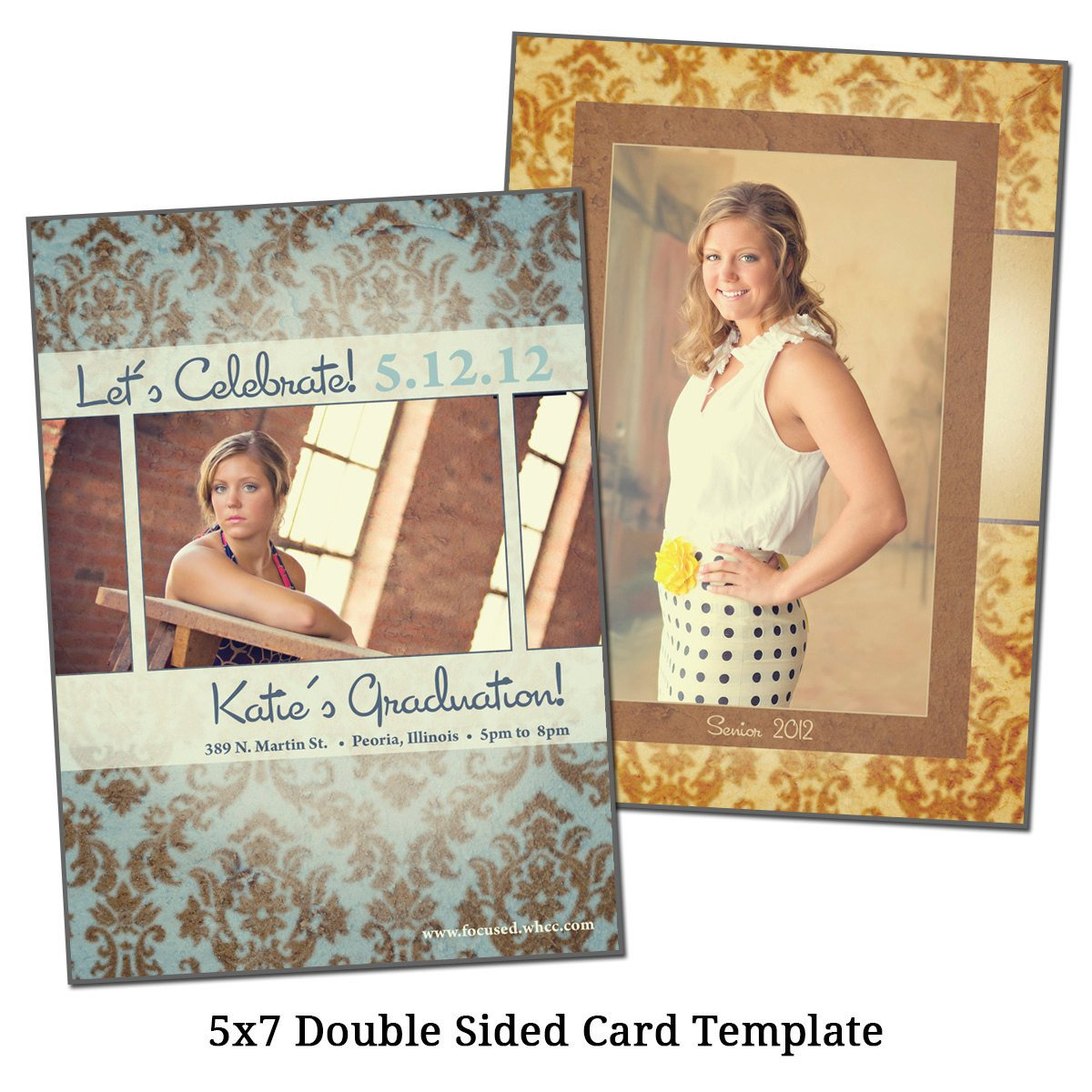 Two Sided Postcard Template 5x7 Double Sided Card Template Senior Damask by