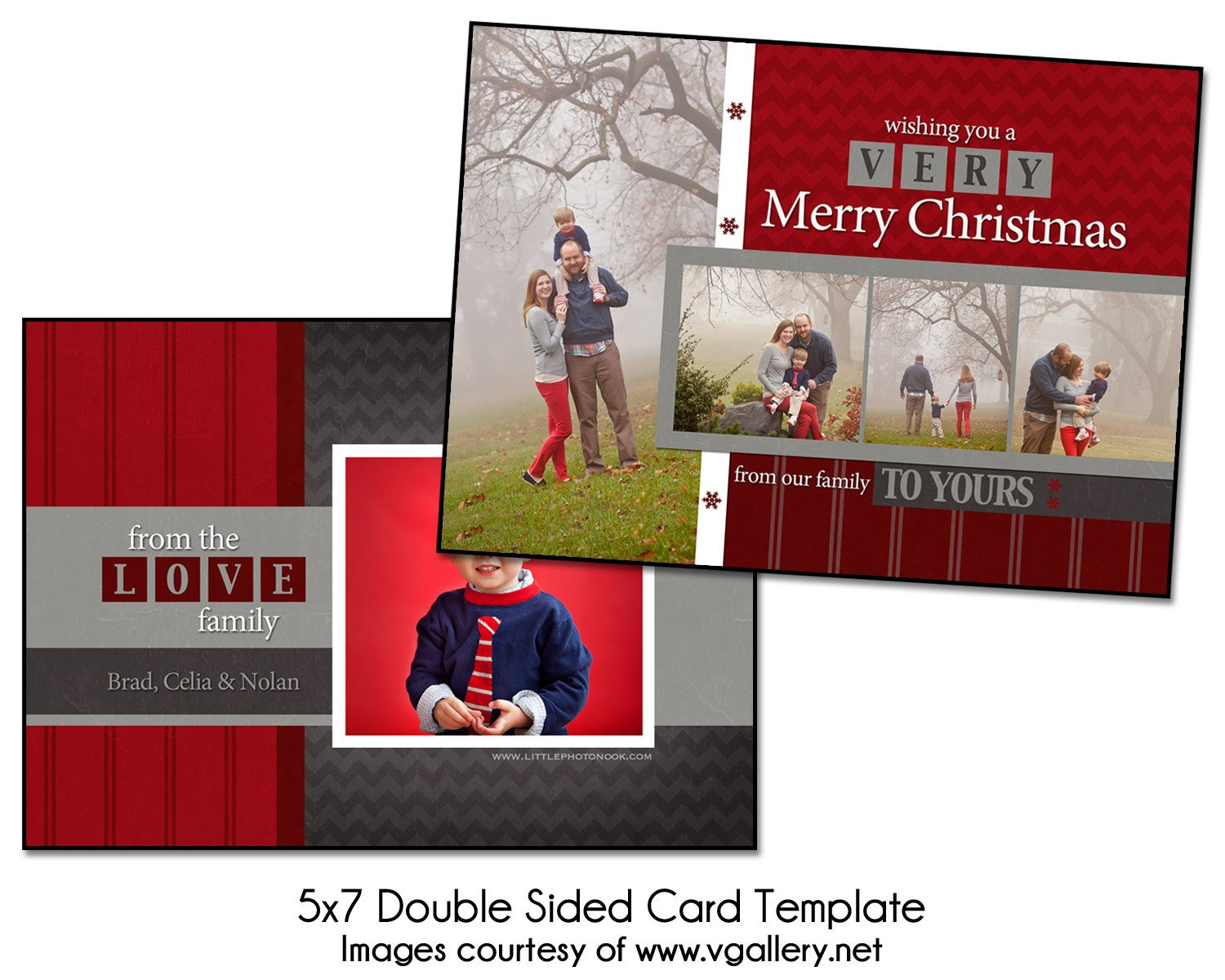 Two Sided Postcard Template Christmas Card Template Block Christmas 5x7 Double Sided