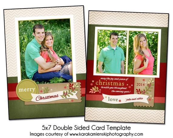 Two Sided Postcard Template Christmas Card Template Christmas Berries 5x7 Double Sided
