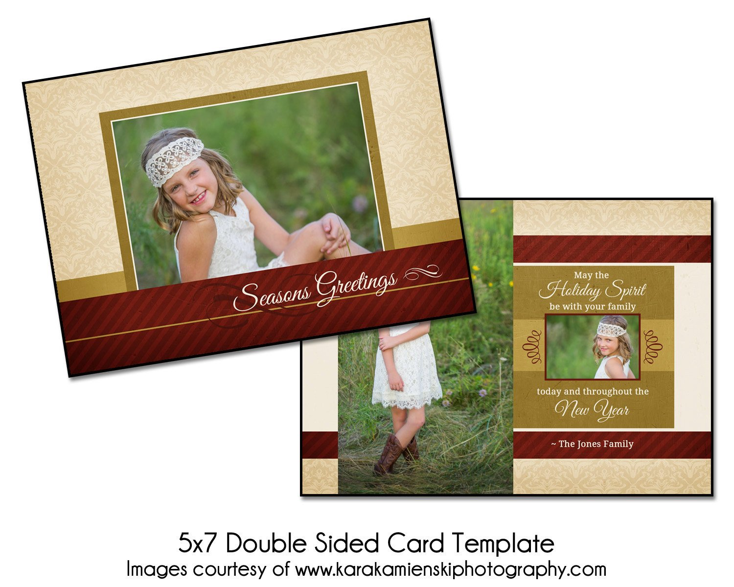 Two Sided Postcard Template Christmas Card Template Holiday Spirit 5x7 Double Sided