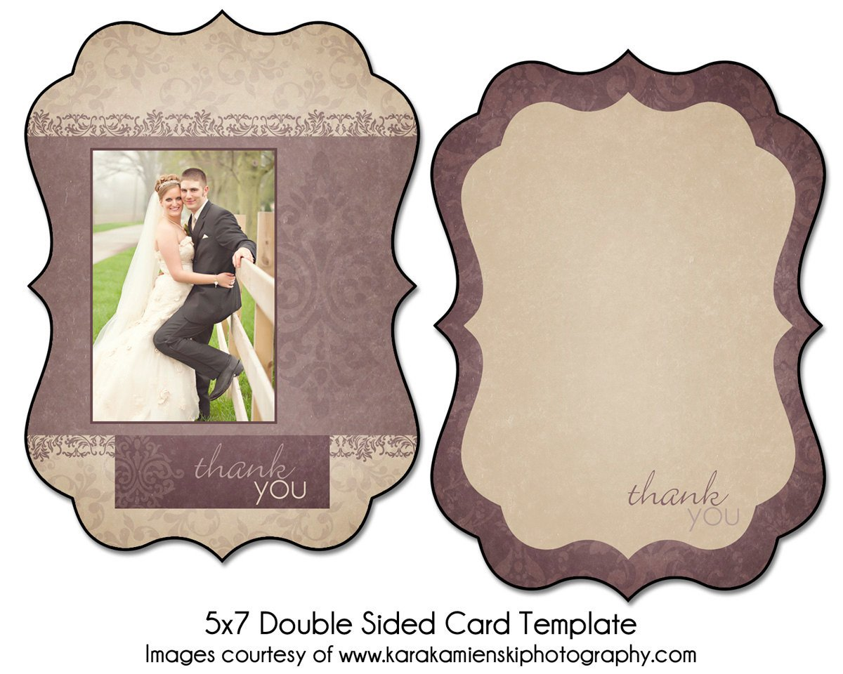 Two Sided Postcard Template Lilac Love 5x7 Double Sided Thank You Card Template
